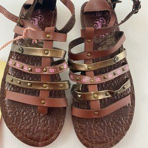 Piping Hot Brown Gladiator Sandal Shoes Size 8